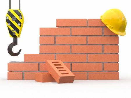 Under construction. Brick wall, crane and hardhat. 3d Stock Photo - 12127387