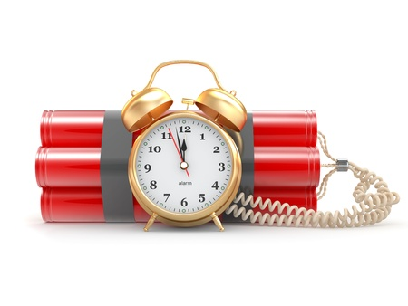 sabotage: Countdown.  Time bomb with alarm clock detonator. Dynamit. 3d Stock Photo