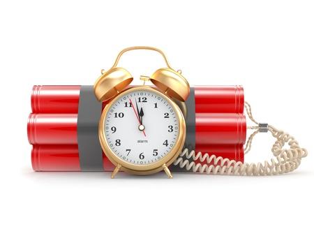Countdown. Time bomb with alarm clock detonator. Dynamit. 3d