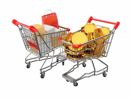 purchase order: Consumerism. Purchase of goods for money. Shopping cart with boxes and coins. 3d