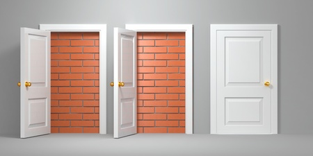 deadlock: No escape and entrance. Doors laid bricks. 3d Stock Photo