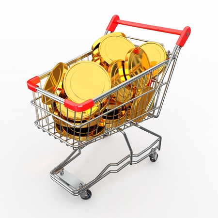 Shopping cart full of coins on white background. 3d photo