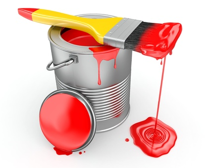 Paint can and paintbrush on white background. 3d photo
