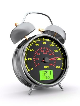 mph: Speedometer as alarm clock face. 3d Stock Photo