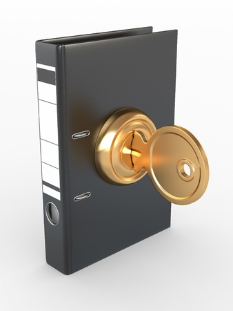 Data security. Information protection. Folders and key. 3d photo