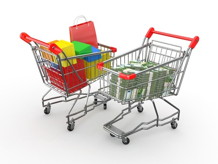 Consumerism. Purchase of goods for money. Shopping cart with boxes and euro. 3d Stock Photo - 12419013