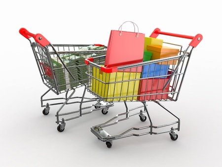 consumerism: Consumerism. Purchase of goods for money. Shopping cart with boxes and euro. 3d