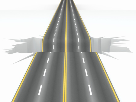 Hole on the road. Concept image. 3d Stock Photo - 12420430