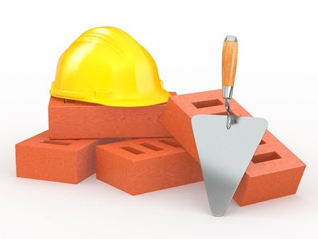 Bricks, hardhat and trowel on white background. 3d photo