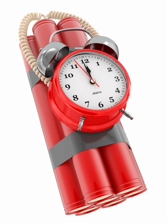 Countdown.  Time bomb with alarm clock detonator. Dynamit. 3d Stock Photo - 12419156