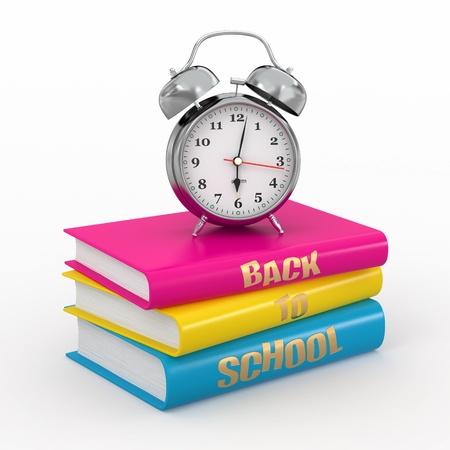test deadline: Back to school. Alarm clock on books. 3d