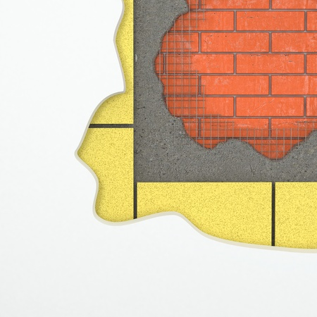 Construction background. Wall with layers of materials. 3d photo