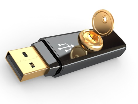 microdrive: Data security. Information protection. Usb flash memory and key. 3d Stock Photo