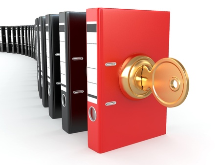 latch: Data security. Information protection. Folders and key. 3d Stock Photo