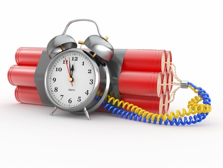 detonate: Countdown.  Time bomb with alarm clock detonator. Dynamit. 3d Stock Photo