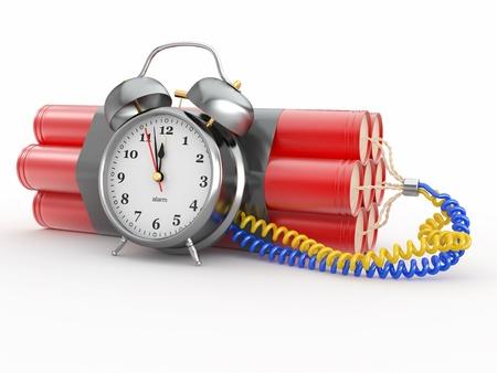 bomba a orologeria: Countdown. Bomba ad orologeria con detonatore sveglia. Dynamit. 3d