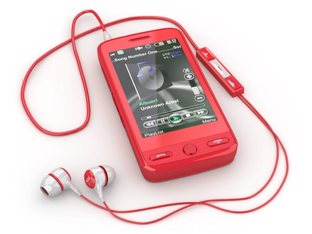 mp3 player: Mobile phone with headphones on white background. 3d