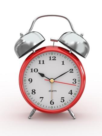 despertador: Diez de la ma�ana. Pasado de moda reloj de alarma sobre fondo blanco. 3d Foto de archivo