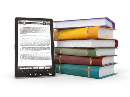 E-book reader. Books and tablet pc. 3d photo