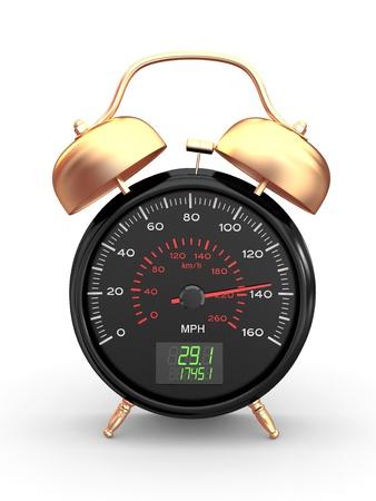 fast driving: Speeding. Speedometer as alarm clock face. 3d