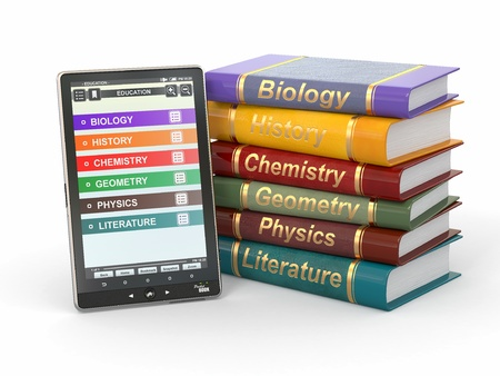 textbooks: E-book reader. Textbooks and tablet pc. 3d