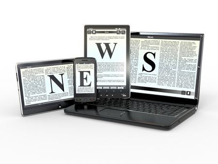reading news: Media. Text NEWS on screen of laptop, tablet, pv and phone. 3d