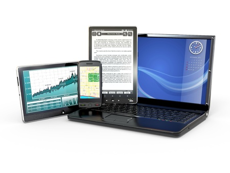 portable information device: Laptop, mobile phone, tablet pc and e-book. 3d