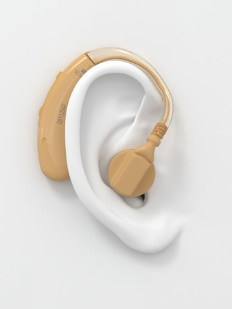 Hearing aid on white ear. Three-dimensional image. 3d photo