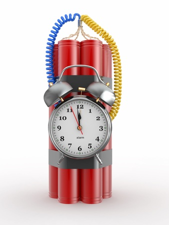 explosives: Countdown.  Time bomb with alarm clock detonator. Dynamit. 3d Stock Photo
