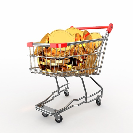 Shopping cart full of coins on white background. 3d Stock Photo - 12766338