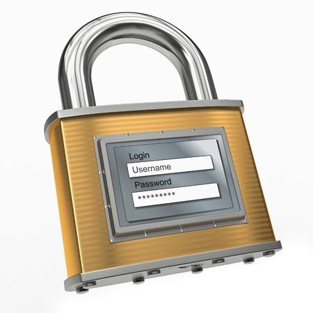 contrase�a: Candado con el nombre de usuario y contrase�a en el fondo blanco aislado. 3d