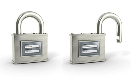 Locking and unlocking padlock with login and password. 3d photo