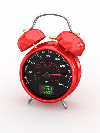 mph: Speeding. Speedometer as alarm clock face. 3d