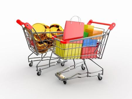 generosity: El consumismo. Compra de bienes por dinero. Carrito de la compra de cajas y monedas. 3d