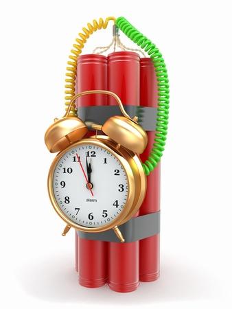 detonator: Countdown.  Time bomb with alarm clock detonator. Dynamit. 3d Stock Photo
