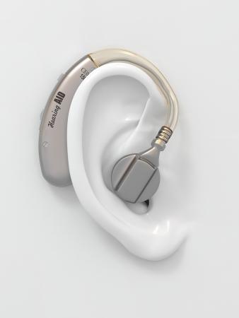 personas escuchando: El aud�fono en la oreja de negro. Tridimensional de la imagen. 3d
