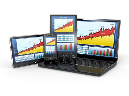 Market Analyze Chart on laptop, tablet pc and phone. 3d photo