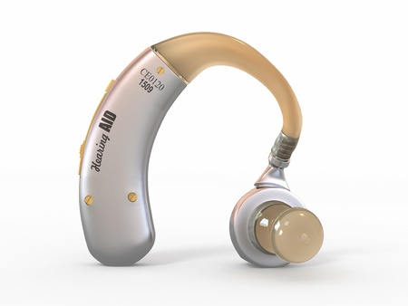 listening device: Hearing aid on white isolated background. 3d
