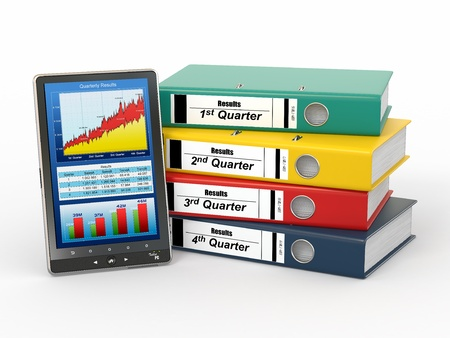 Electronic report. Binders and tablet pc with graph. 3d photo