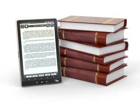pocket pc: E-book reader and  stack of books on white background. 3d