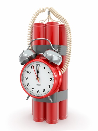 Countdown.  Time bomb with alarm clock detonator. Dynamit. 3d Stock Photo - 12766489