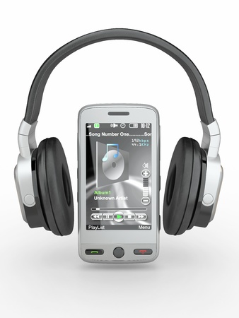 Mobile phone with headphones on white background. 3d photo
