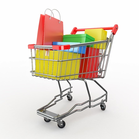 trolley: Gift buying. Shopping cart full of boxes. 3d Stock Photo