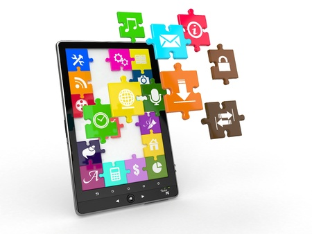 Tablet pc software. Screen from puzzle with icons. 3d photo