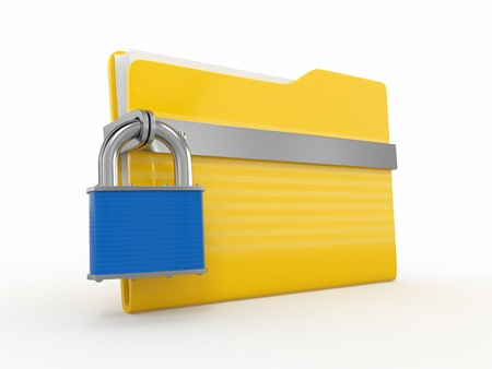 Confidential files. Padlock on folder on white background. 3d Stock Photo - 12766474