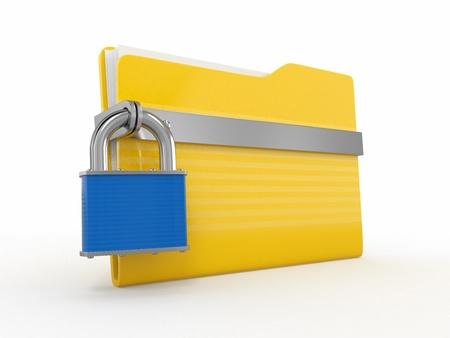 secure backup: Confidential files. Padlock on folder on white background. 3d