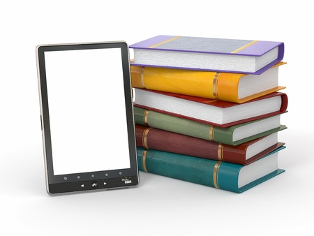 E-book reader. Books and tablet pc. 3d Stock Photo - 12766500