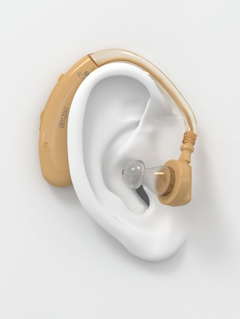 listening to people: Hearing aid on white ear. Three-dimensional image. 3d Stock Photo