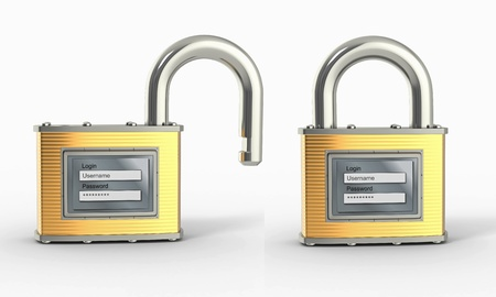 log in: Locking and unlocking padlock with login and password. 3d