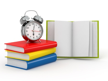 Time for school. Alarm clock on books. 3d photo